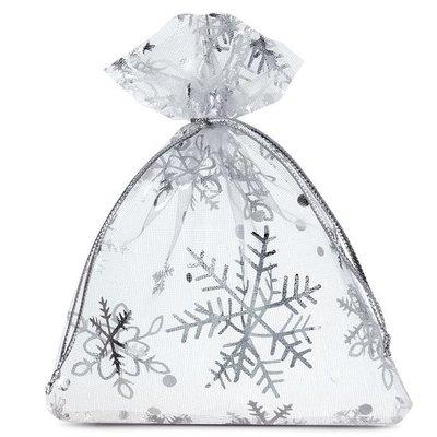 Organza zakjes kerst wit met zilveren ijskristal 9 x 12 cm