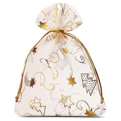 Organza zakjes kerst ivoor met gouden ijskristal 9 x 12 cm