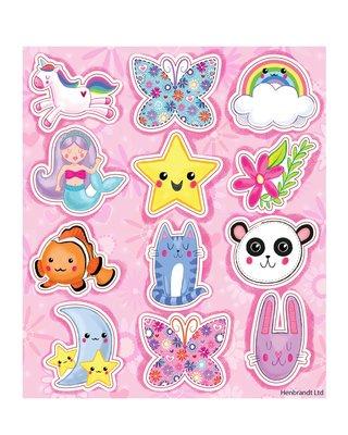 Traktatie stickers unicorn regenboog zeemeermin
