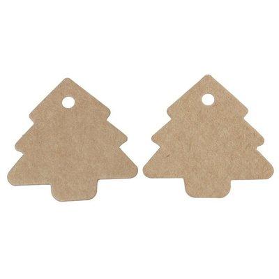 Kraft labels kerstboom 10 stuks