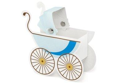 Traktatie doosje kinderwagentje blauw