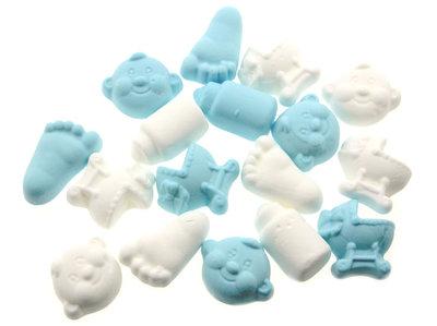 Geboortesnoepjes licht blauw wit