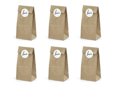 Kraft zakjes met love stickers 6 stuks