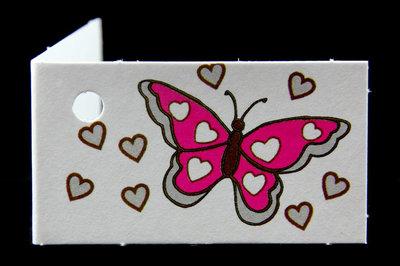 Traktatie kaartjes vlinder fuchsia
