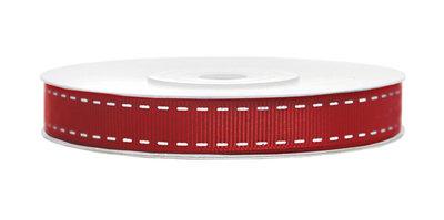 Grosgrain lint met stiksel print 15 mm rood-wit