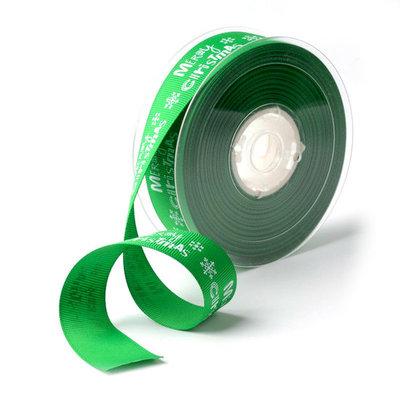Kerstlint grosgrain groen met wit ijskristal