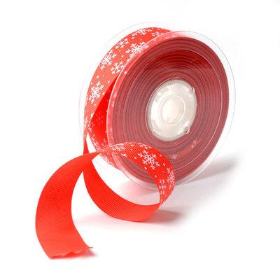 Kerstlint grosgrain rood met wit ijskristal