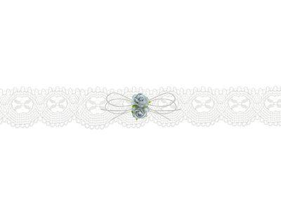 Kousenband ivoor kant licht blauwe bloemetjes