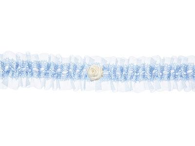 Kousenband licht blauw kant en organza met wit bloemetje