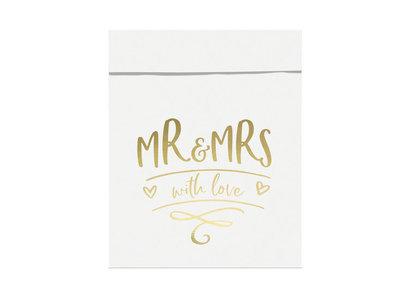 Wit papieren zakjes metalic opdruk MR & MRS 6 stuks