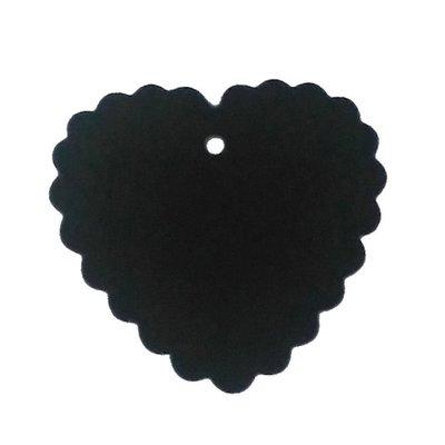 Zwarte labels hart geschubt 10 stuks