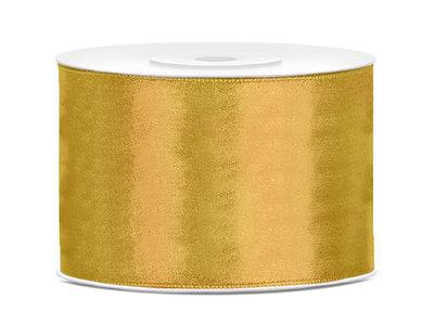 Goud satijn lint 5 cm breed