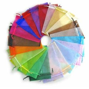 100 stuks 7.5 x 10 cm organza zakjes kleurenmix
