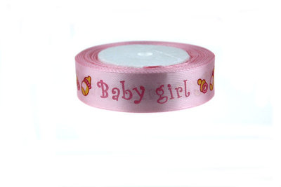 2 cm Satijn lint Baby Girl (speentje-papfles)